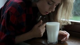 Barely legal white panties girlfriend covers her toned body in milk