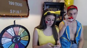 Yellow onesie Pokemon-looking teen getting fucked (almost, kind of)