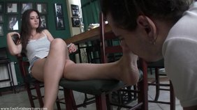 Leggy babe with big sexy feet gets licked by her BF