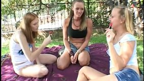 Sunny picnic turns into nasty and wild lesbian threesome
