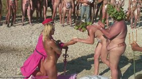 Nudists celebrating some weird pagan holiday totally naked