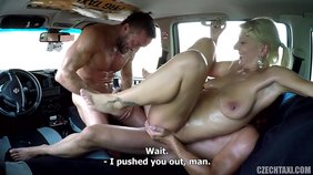 Sweaty amateur blonde gets double penetrated by two studs in a big car