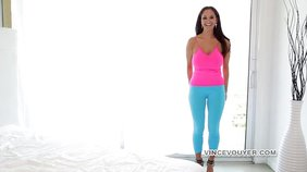 Dark-haired wife in tight blue yoga pants masturbating and seducing her hubby