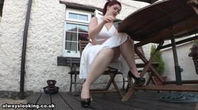 White get-up extra-thick redhead wife showing her panties up the skirt
