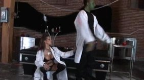Blond-haired beauty and her dark-haired friend fuck the Frankenstein's monster