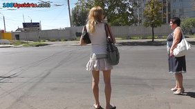 Skirt-wearing seductress waiting for her bus to come (amateur XXX in HD)